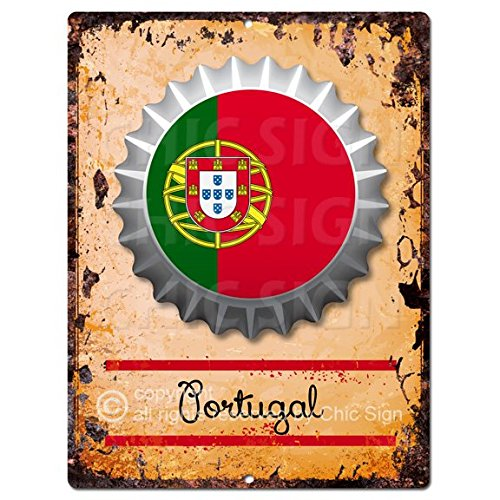 Chic Sign COUNTRY PORTUGAL Flag Bottle Cap Rustic Vintage Retro Kitchen Bar Pub Coffee Shop Wall Decor 9