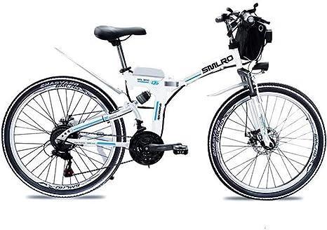 WFIZNB Bicicletas de montaña eléctricas, 26 Pulgadas Plegable Bicicleta eléctrica con magnesio Ligero al 48V8Ah Bicicleta de montaña eléctrica estupenda con baterías de Iones de Litio con,Blanco: Amazon.es: Deportes y aire libre