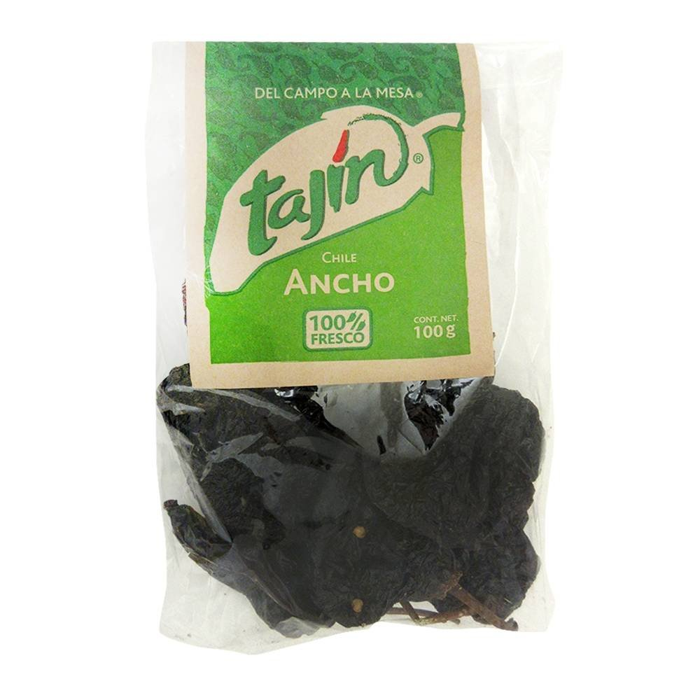 TAJIN Dried Ancho Chiles Peppers 3.5 Oz - 100 Grams - Great For Sauce, Chili, Stews, Soups, Mole, Tamales, Salsa and Mexican Recipes - By TAJIN