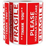 "Fragile Stickers [1 Roll, 500 Labels] 2"" x 3"" Handle with Care Fragile Thank You Warning Fragile- Stickers for Shipping…"