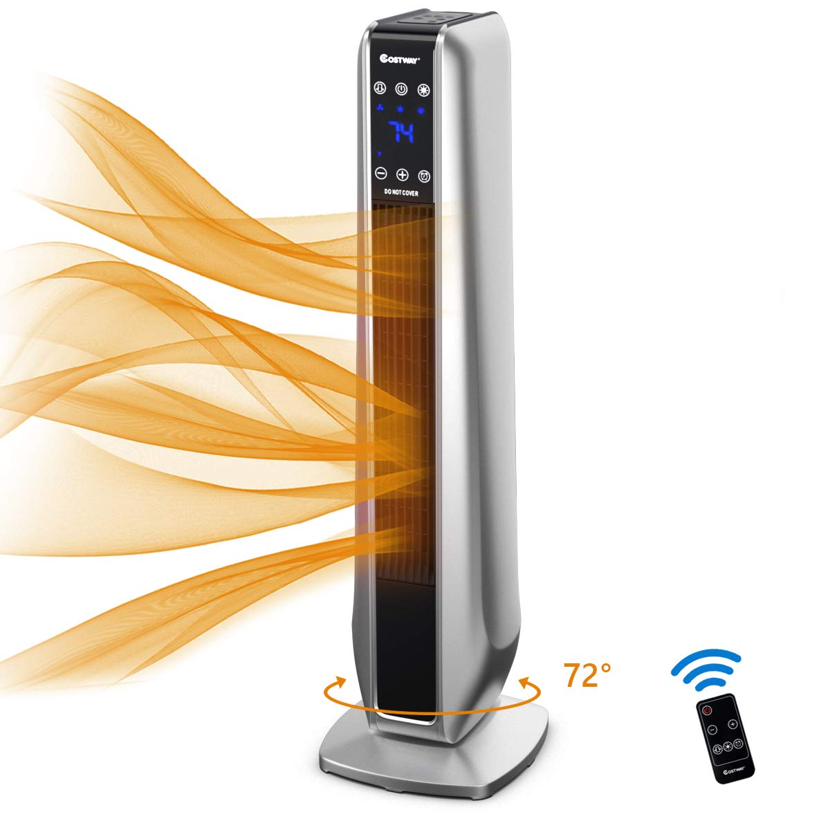 COSTWAY Ceramic Heater, 750W 1500W Electric Tower Heater with 3 Modes, 8H Timer, Remote Control LED Screen, Overheat Tip-Over Protection, Portable Space Heater for Bedroom, Home Office, Silver