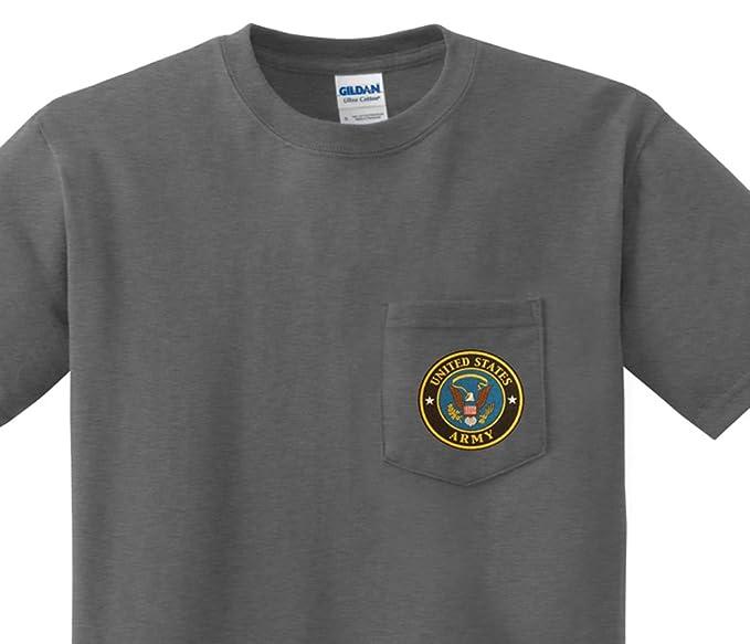 Men's T Us Army Decal Sleeve Tee Short Shirt Pocket cS4jq3L5AR