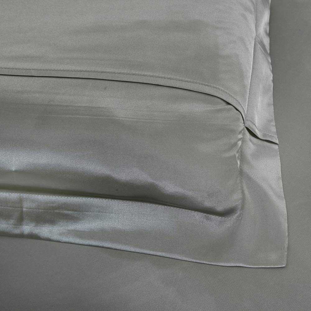 Silver Gray Silk Pillowcase Grey Silk Pillow Sham, Include 2 Standard Pillowcases, Envelope Closure, Prevent Side Sleeping Wrinkles, Have Good Dreams.