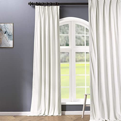HPD Half Price Drapes VPCH-110602-120-FP Signature Pleated Blackout Velvet Curtain 1 Panel , 25 X 120, Off White