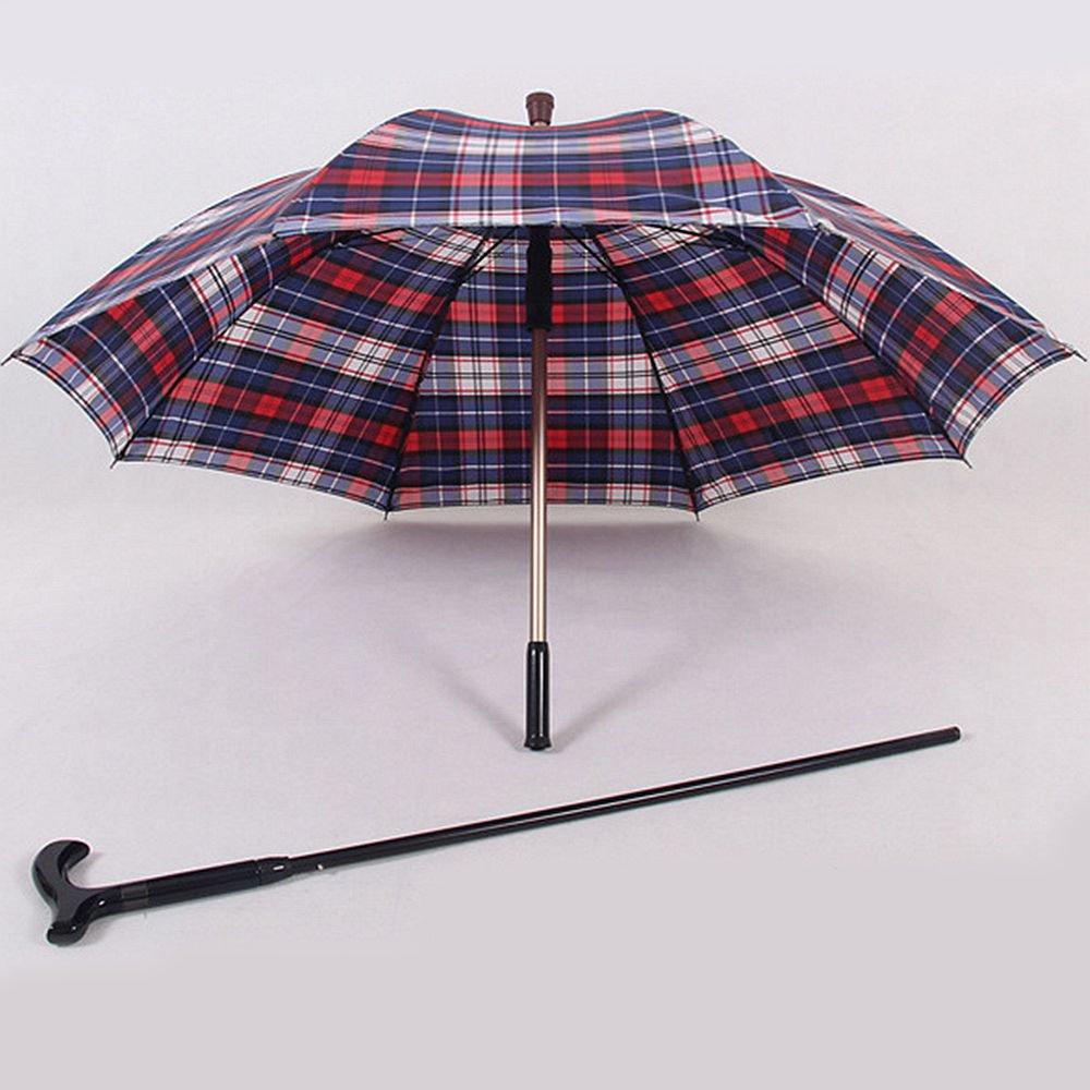 CPDZ Multi - rutsch funktions - spazierstock alte Anti - rutsch - - Schirm Crutch Aluminium - Legierung Regenschirm roter und Blauer Gitter Schirm Durchmesser 102cm Stock 86cm 215612