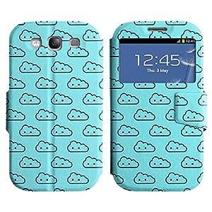 Be-Star Diseño Impreso Colorido Slim Casa Carcasa Funda Case PU Cuero - Stand Function para Samsung Galaxy S3 III / i9300 / i717 ( Happy Clouds )