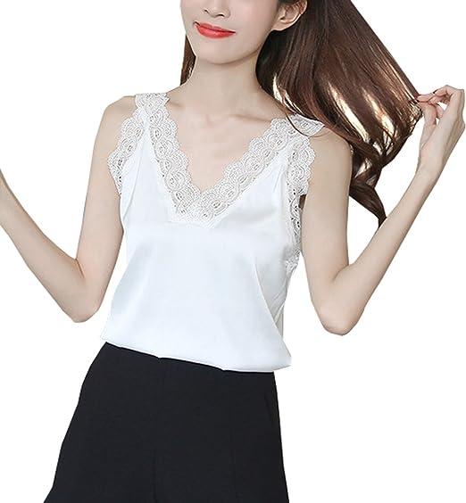 Smalltile Verano Vest Mujer Elegantes Hermoso Encaje Costura Tops Moda Cuello V Camisetas Sin Mangas Blusa