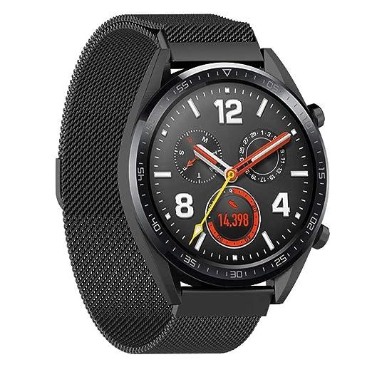 DIPOLA Pulsera magnética milanesa Correa de Banda de Repuesto para Reloj de Huawei GT_Negro: Amazon.es: Relojes
