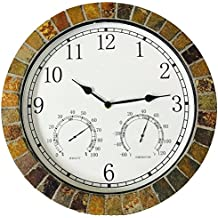 """Indoor Outdoor Patio and Pool 15"""" Wall Clock with Humidity and Temperature Dials is Made of Natural Textured Ceramic Tiles for Home Kitchen and Office Decor / Arabic Numeral"""