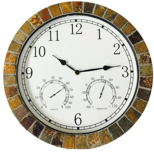 "Indoor Outdoor Patio and Pool 15"" Wall Clock with Humidity and Temperature Dials is Made of Natural Textured Ceramic Tiles for Home Kitchen and Office Decor / Arabic Numeral (Clocks Weatherproof)"