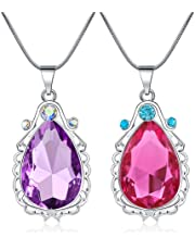 2 Pcs Sofia The First Amulet and Elena Princess Necklace Twin Sister Teardrop Necklace Magic Jewelry Gift for Girls