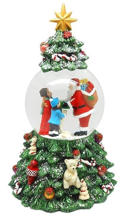 lightahead musical christmas tree figurine revolving water ball snow globe santa gifts in polyresin