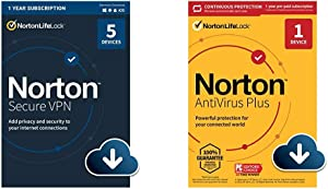Norton Secure VPN 2021 for up to 5 Devices with Norton AntiVirus Plus 2021 for 1 Device with Auto-Renewal