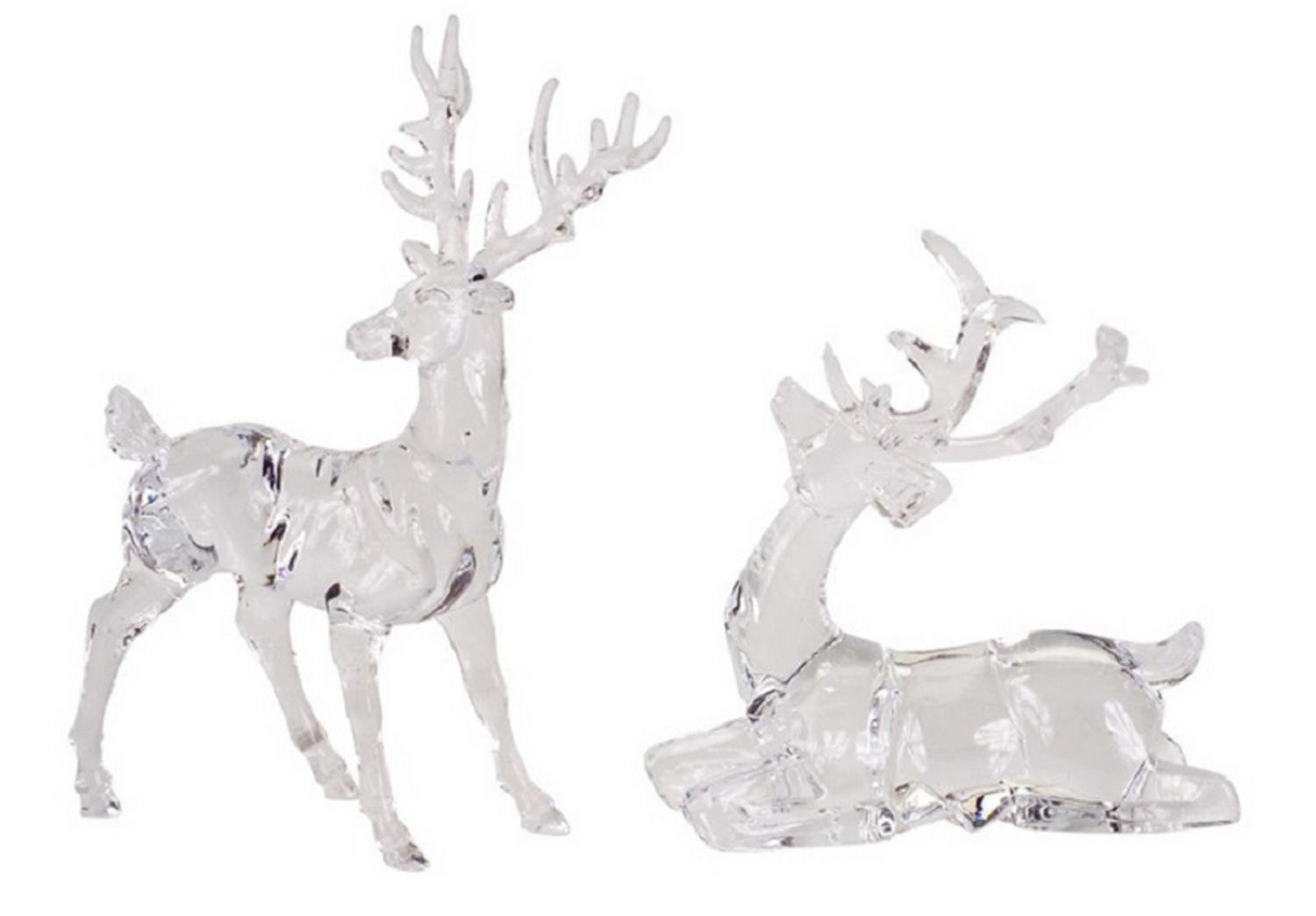 Clear Reindeer Christmas Tabletop Figurines Set of 8
