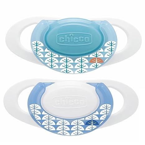 Chicco Physio - Pack de 2 chupetes de caucho con anillo (a partir de 0 meses), color azul
