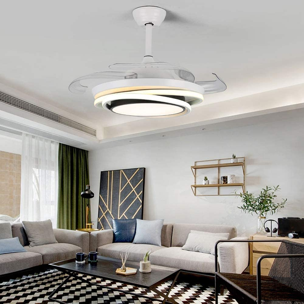 Dp-Light Ventiladores de Techo con lámpara, luz de Ventilador de Techo con 4 aspas retráctiles, función de Temporizador, Control Remoto, luz Colgante Regulable para Dormitorio, Sala de Estar, Comedor