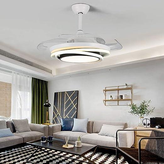 Dp-Light Ventiladores de Techo con lámpara, luz de Ventilador de Techo con 4 aspas retráctiles, función de Temporizador, Control Remoto, luz Colgante Regulable para Dormitorio, Sala de Estar, Comedor: Amazon.es: Hogar