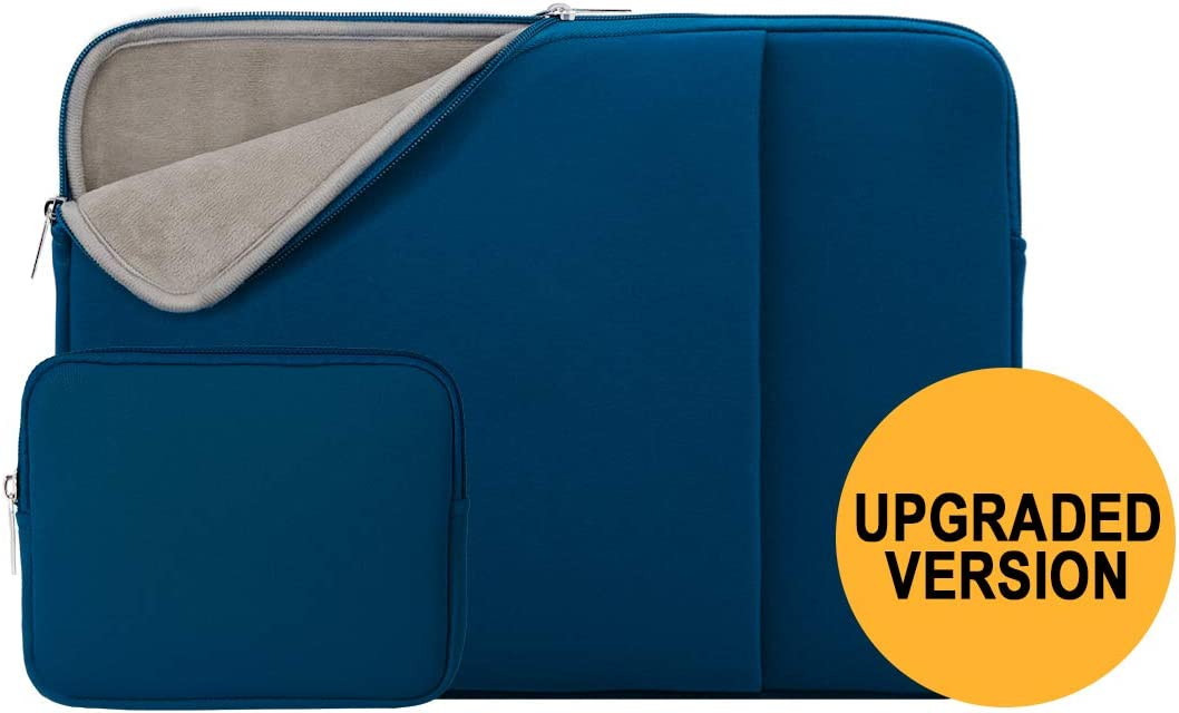 "RAINYEAR 11 Inch Laptop Sleeve Case Soft Lining Cover Bag with Front Pocket &Accessories Pouch,Compatible with 11.6"" MacBook Air for 11"" Notebook Computer/Tablet/Chromebook(Navy Blue,Upgraded Version)"