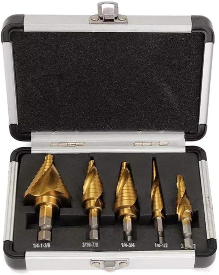 DSY Drill 5Pcs Spiral Step Grooved Drill Bit Set Titanium Coated Step Drill Bits 1//4 Hex Shank Drill Accessories
