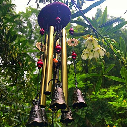 Yard Bell (Wind Chimes Outdoor Wind Chimes Garden Wind Bells Bronze Chime 4 Tubes 5 Bronze Bells Sounds Crisp for Yard Garden Outdoor Indoor Bedroom Ornaments (Bronze Bells))