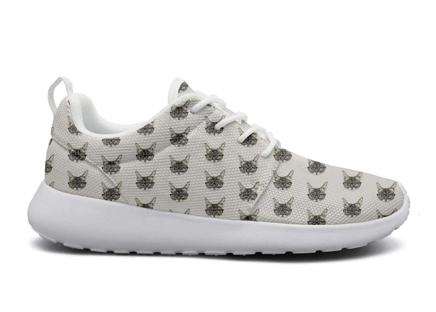 Cute Glasses cat Print White Plimsolls for Men News Highly Breathable Male Running Shoes