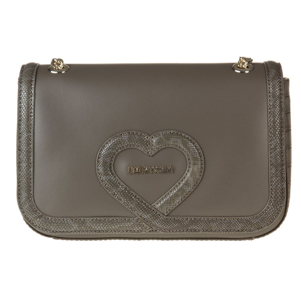 Love Moschino Chain Heart Womens Handbag Grey