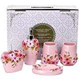 Fuloon Country Style Resin 5PC Bathroom Accessories Set Soap  Dispenser/Toothbrush Holder/Tumbler/Soap Dish (Pink)