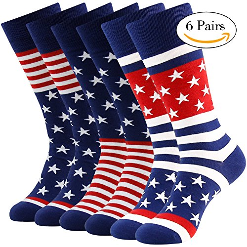 Business Gift Socks, LANDUNCIAGA Men Patriotic American Flag Stars Novelty Cotton Crew Bridegroom Socks,6 Pairs
