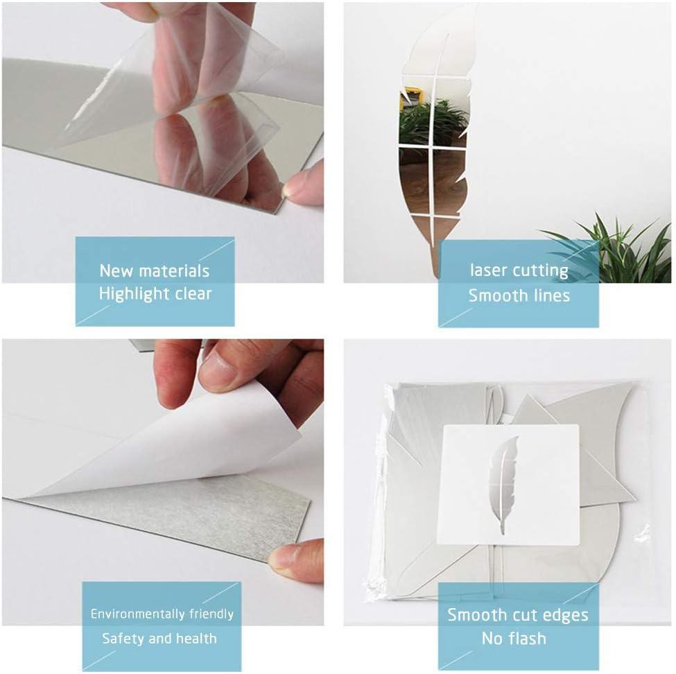per decorare la casa casa per soggiorno CUNYA Adesivi da parete in acrilico 3D destra, argento a forma di piuma camera da letto 30,5 x 124,5 cm