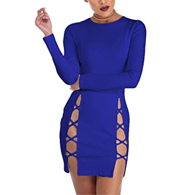 Eloise Isabel Fashion Mulheres vestidos de moda abrir side lace up bandage dress festa à noite