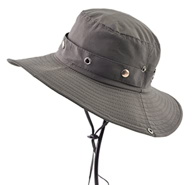 Diffyou Men s Outdoor Casual Hiking Fisherman Bucket Hat With String Army  Green 82f7458df96