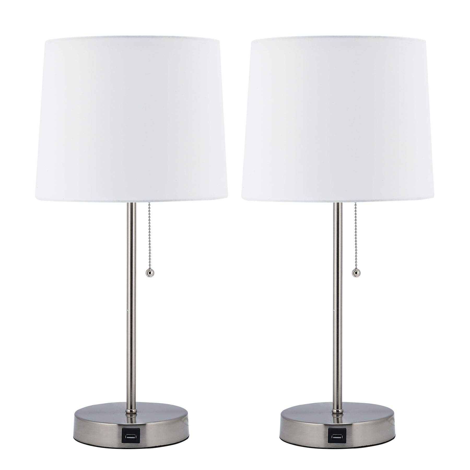 CO-Z White Table Lamp with USB Charger Set of 2, Modern Metal Desk Lamp in Brushed Nickel Finish, 21'' Height Beside Lamp for Office Bedroom Nightstand Accent, UL Certificate.