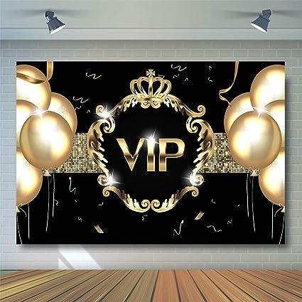 Comophoto Vip Party Hintergrund Für Geburtstag Fotoshooting 2 1 X 1 52 M Goldener Ballon Schwarz