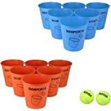 Giant Pong Game Set Outdoor for The Beach, Camping, Tailgating, Lawn and Backyard( 12 Buckets, 2 Game Balls )