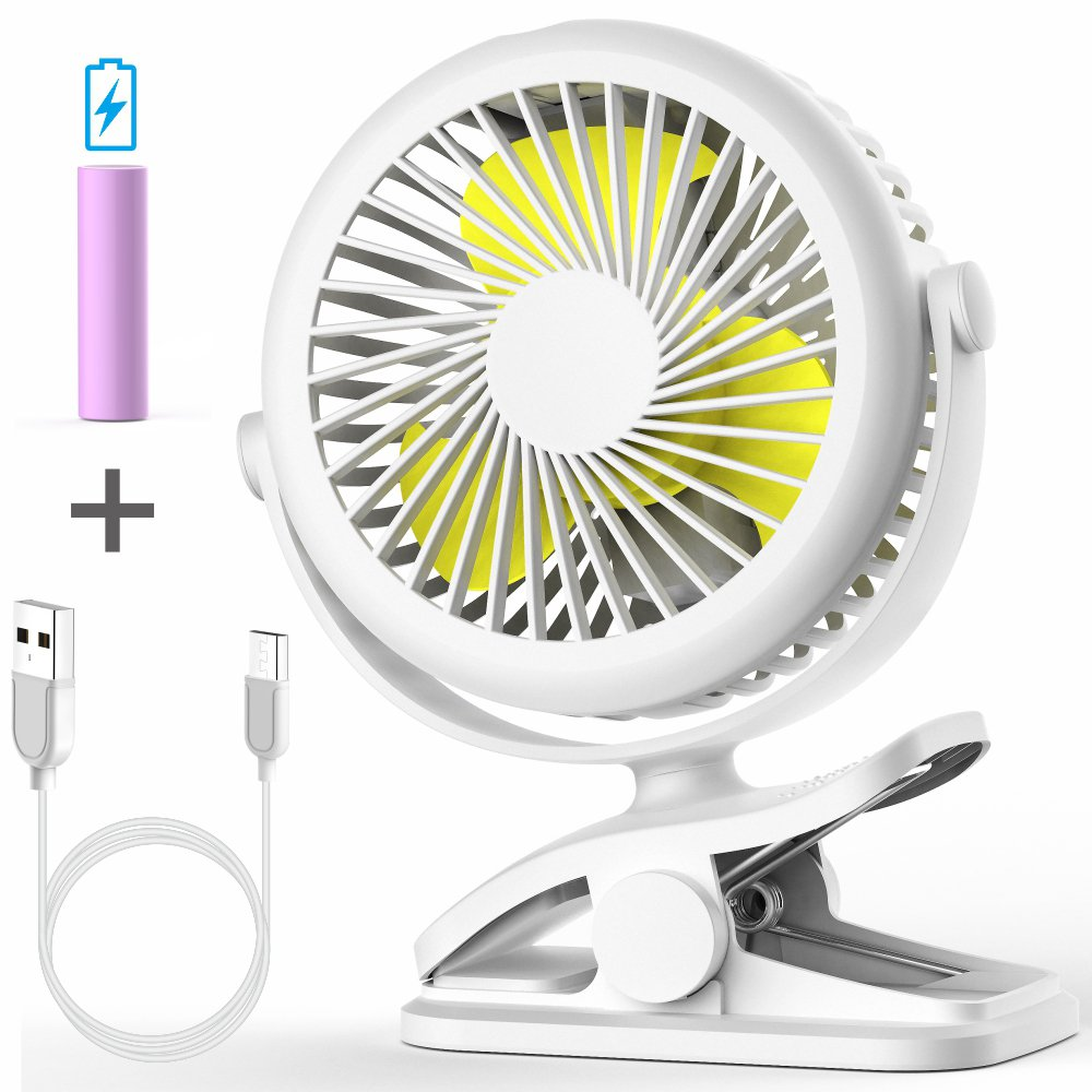 Stroller Fan, Cambond Clip On Battery Operated Fan with 3 Adjustable Speed for Baby Carseat Travel Camping, White