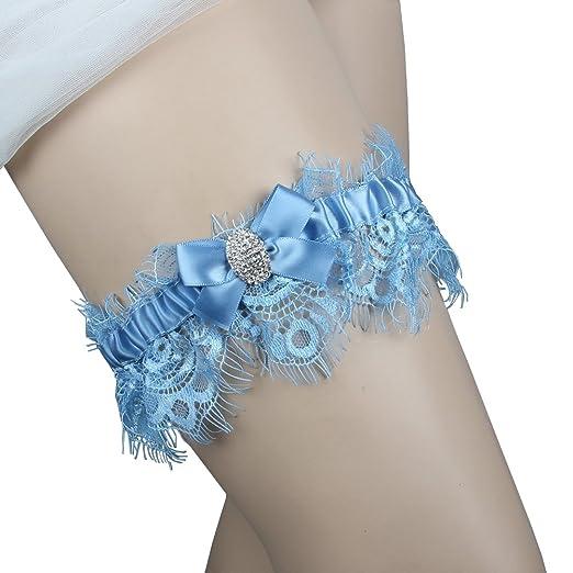 c265281c2df Kirmoo Bridal Blue Lace Wedding Bridal Garter with Rhinestone Satin Bow for  Brides Something Blue Garter
