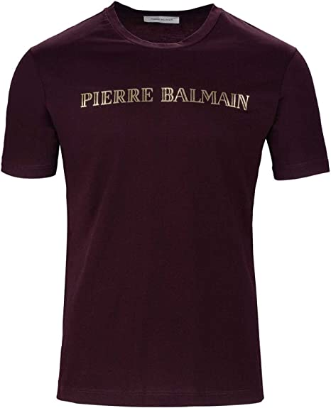 ad7000c0e Pierre Balmain Logo Tee Logo Patch T-Shirt, Color: Burgundy, Size: 44:  Amazon.co.uk: Clothing