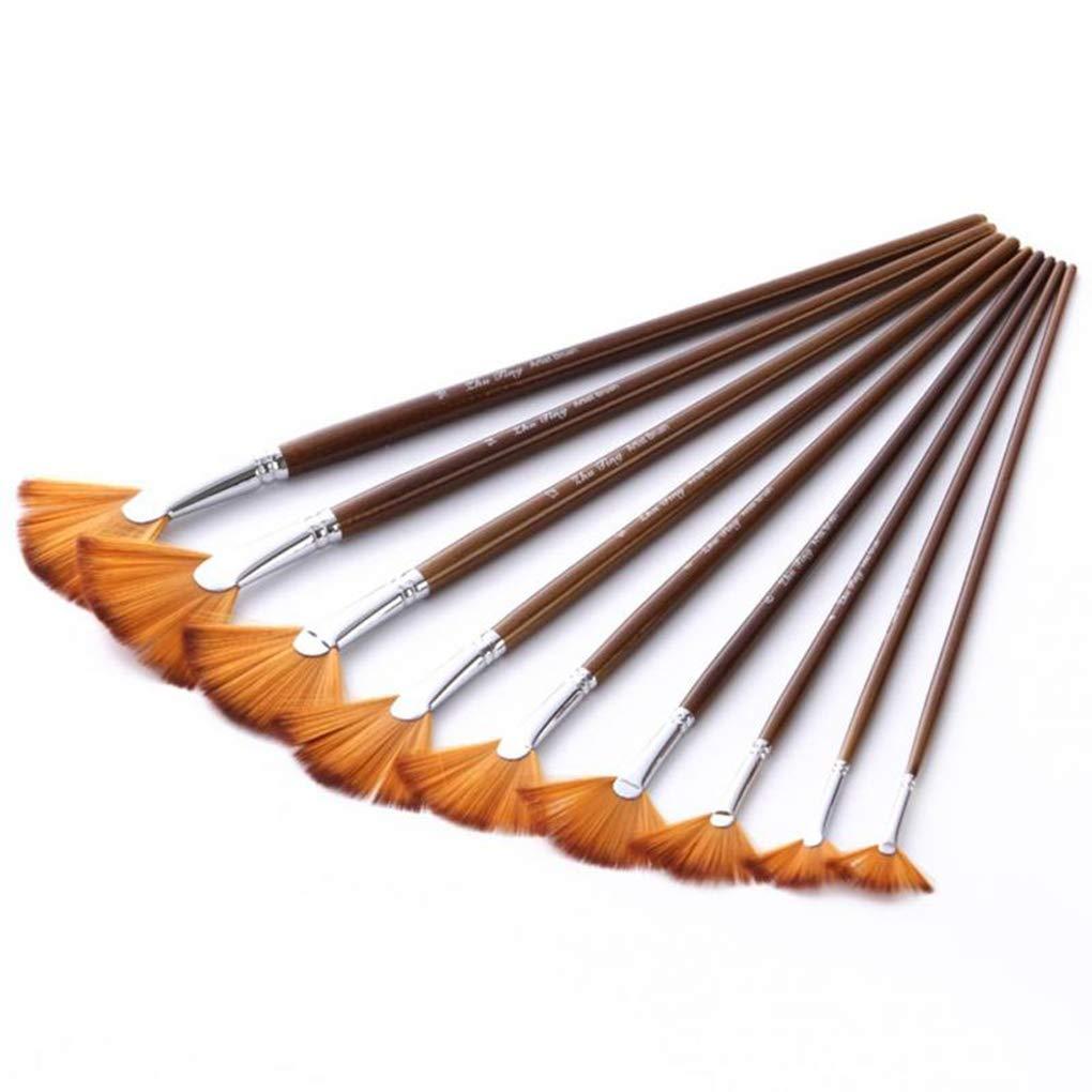 F-blue 9pcs Ventilador Pintura del Cepillo del Sistema Anti-vertimiento Pelo de Nylon de Madera de Mango Largo Acuarela Pintura al /óleo Pinceles