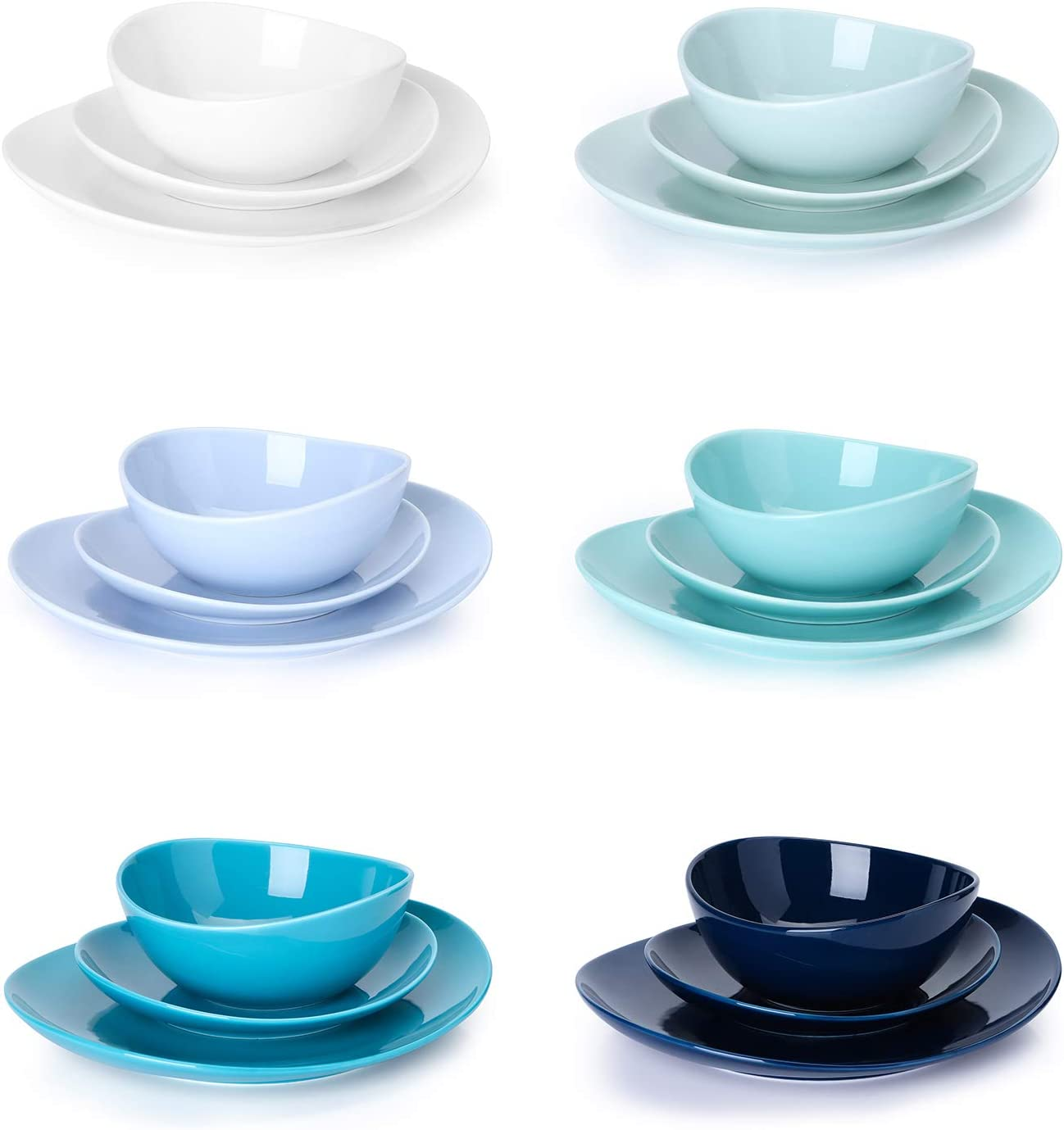 | Sweese 198.003 Porcelain Dinnerware Set, 18-Piece, Service for 6, Cool Assorted Colors: Dinnerware Sets