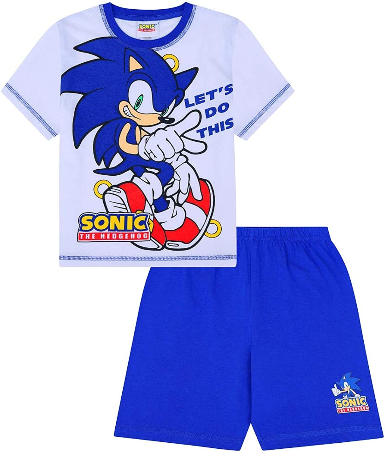 8-9 Years Sonic The Hedgehog Lets Do This Short Gamer Cotton PJs Boys White