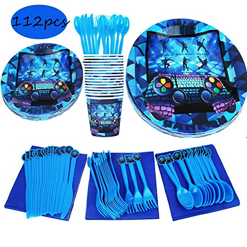 (Video Game Birthday Party Supplies and Favors,Serves 16,Game Party Plates,Cups,Napkins,Cutlery,Gaming Party Tableware Game Day Party 1st Baby Shower for Kids)