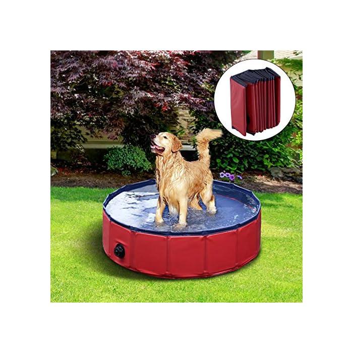 61DSDi7JOYL Ideal para rinfrescarsi en días calientes – gracias a esta piscina el su perro se será un saco Apto para uso interior y exterior – Fabricada en material robusto y fuerte Válvula de desagüe del agua práctica para el drenaje – borde estable reforzado