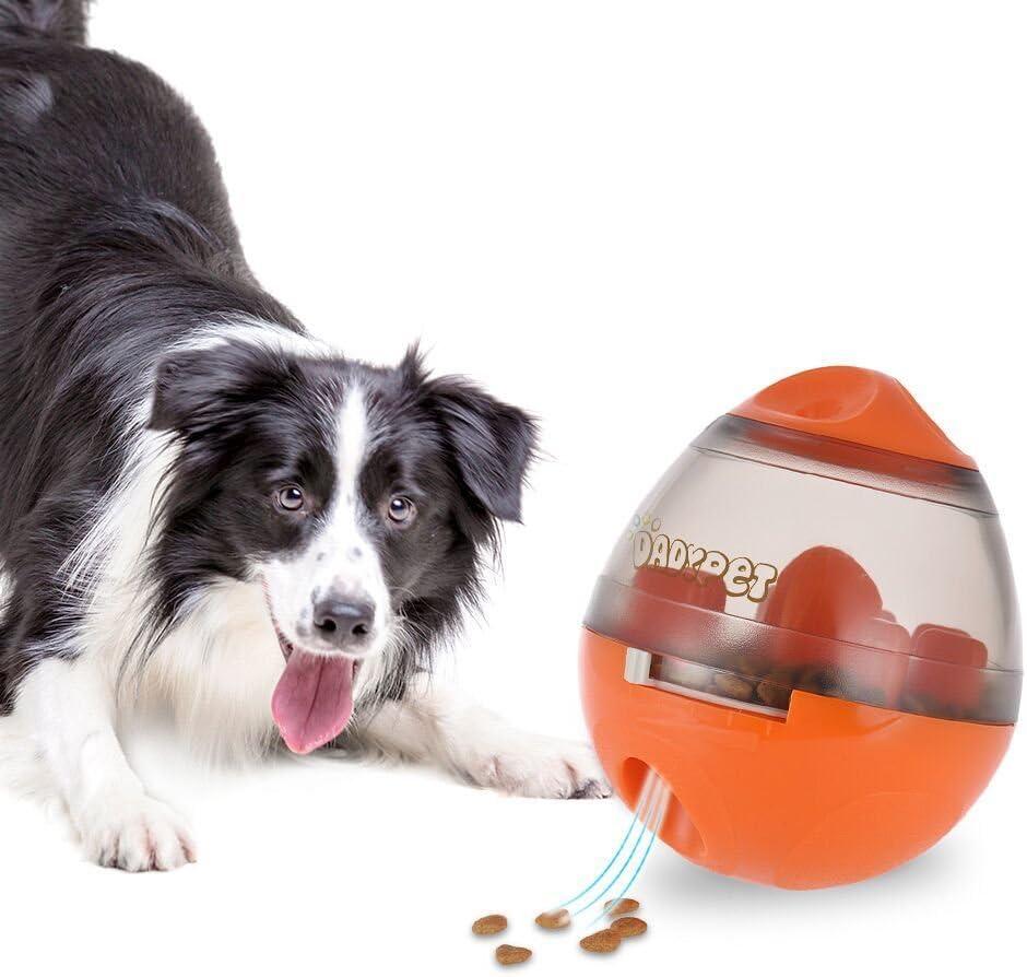 DADYPET Juguetes para Perros, Mascotas Perros Accesorios Pelota Dispensadora de Comida Fácil de Limpiar (Naranja)