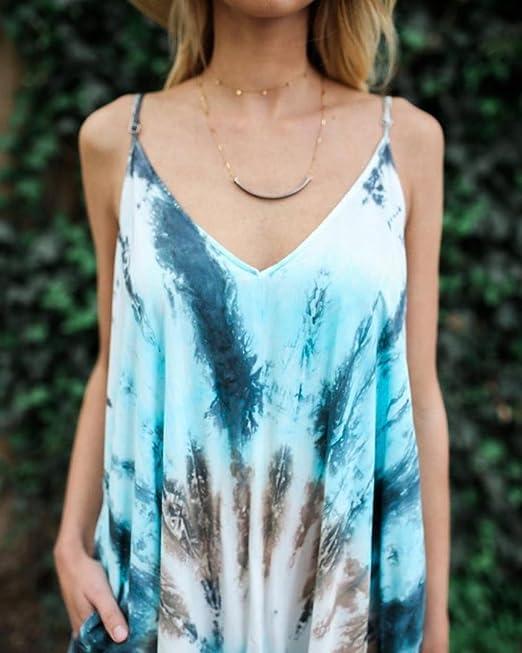 Yesmile 💋💝Vestido de Mujer Falda Blanco Ropa Vestido Elegante de Noche para Boda Fista Vestido de Fiesta Largo Estampado BOHO de Playa Vestido (Azul, ...