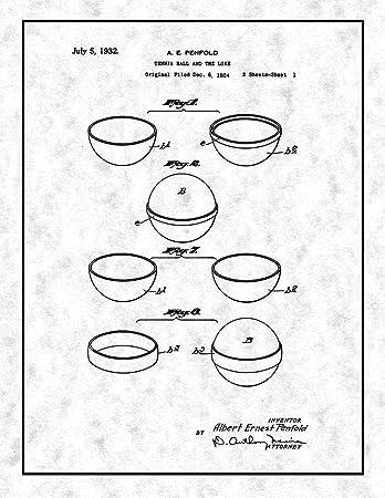 Amazon Com Tennis Ball Patent Print Gunmetal With Border 13 X 19