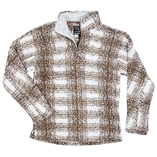 True Grit Men's Frosty Tipped Pile 1/4 Zip Pullover, Brown Plaid, M