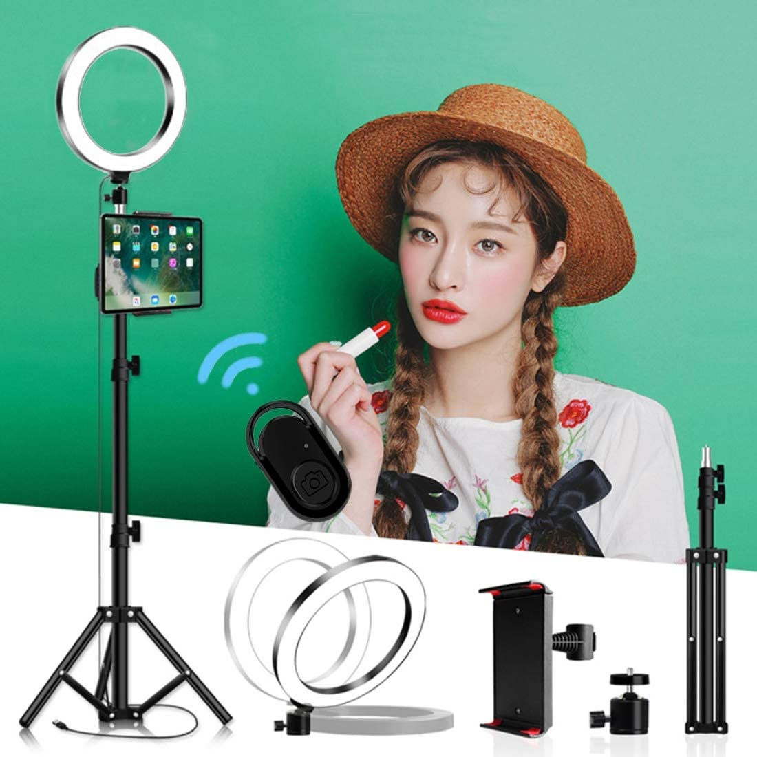 DLMPT LED Ring Light Lighting Kit with Tripod and Phone Holder 3 Color Temperature Ring Make Up Light Level Adjustable Brightness for Live Stream Makeup YouTube Video