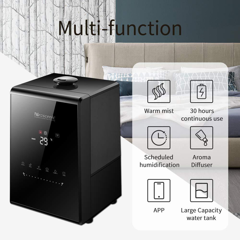 Proscenic/807C/WLAN/Luftbefeuchter/Raumluftbefeuchter/mit/ App/Steuerung,Ultraschall-Luftbefeuchter/mit/5,5L/Wassertank,Duale/360/°Dampfd/üse,Warm//Kalt/Dampf/f/ür/Wohn-,/