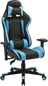 Computer Gaming Chair, Larger Size Ergonomic Swivel Racing Executive High Back Office Chair with 3D armrests- Adjustable Headrest and Lumbar Support, Big and Tall Hold Up to 350lb (Blue&Black)