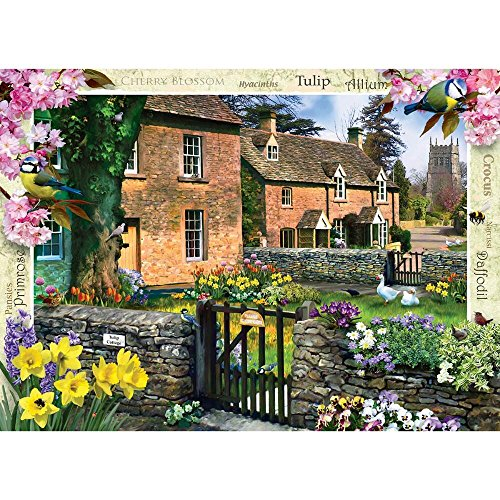 MasterPieces Flower Cottages Tulip Cottage Jigsaw Puzzle, Art by Howard Robinson, 1000-Piece Cottage 1000pc Jigsaw Puzzle